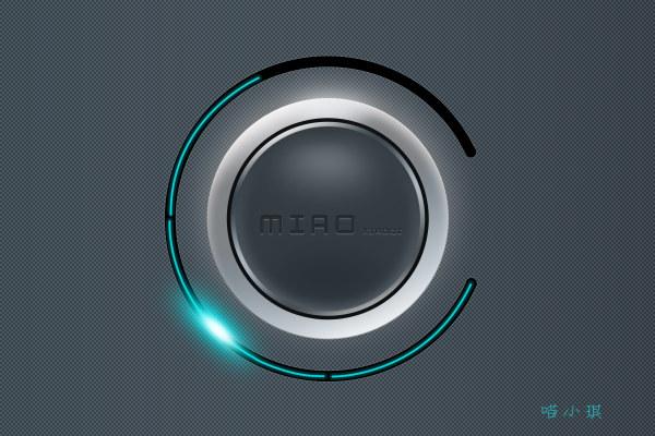 蓝色质感旋转按钮 进度条-第1张