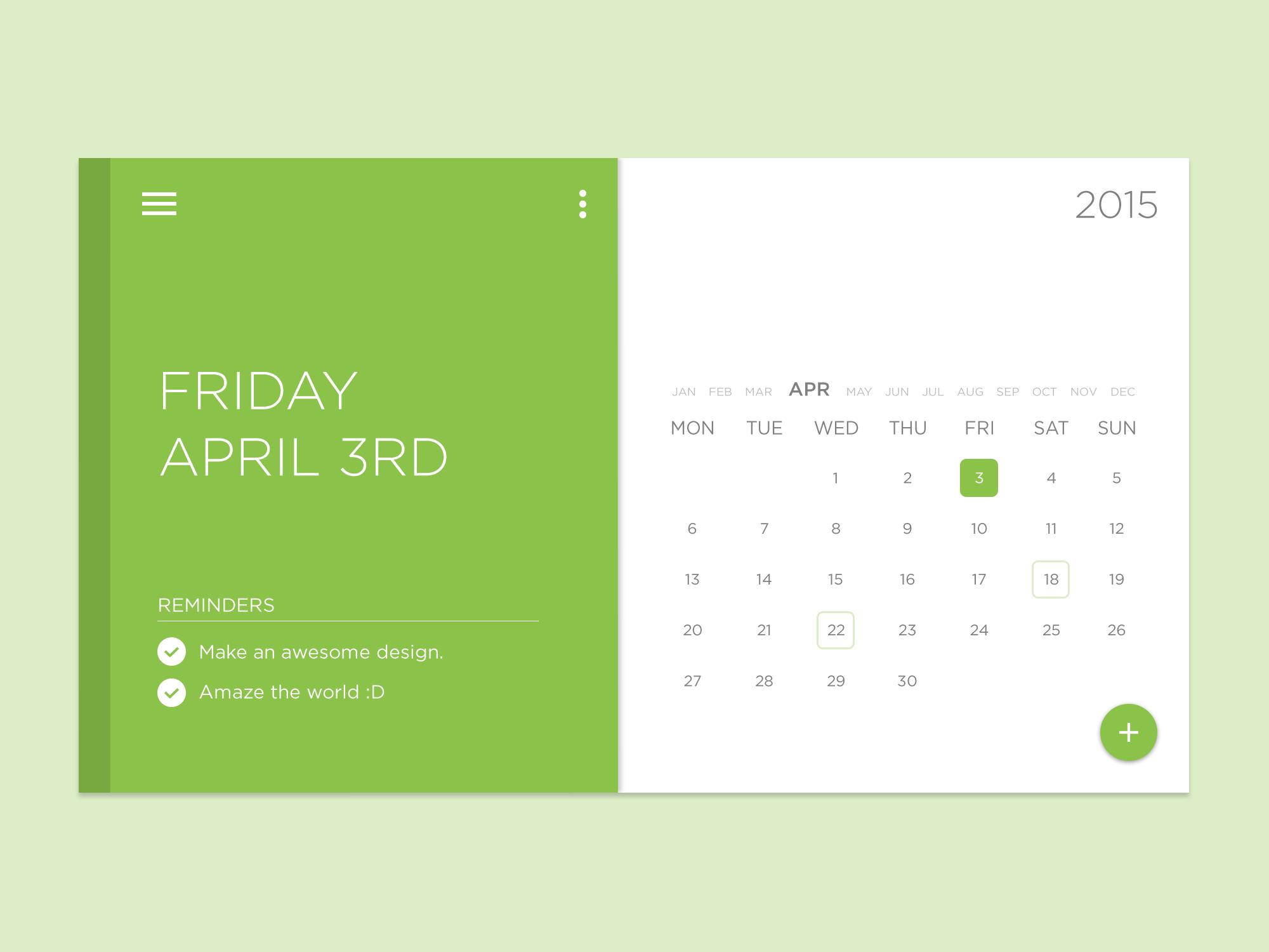 绿色小清新Material design风格日历界面 时间日期-第1张