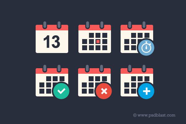 扁平化的日历图标(psd) 时间日期-第1张