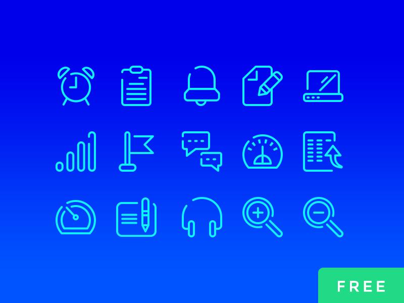 Neon Blue UI 线稿图标 图标-第1张