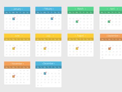扁平化日历窗口界面psd源文件 时间日期-第1张