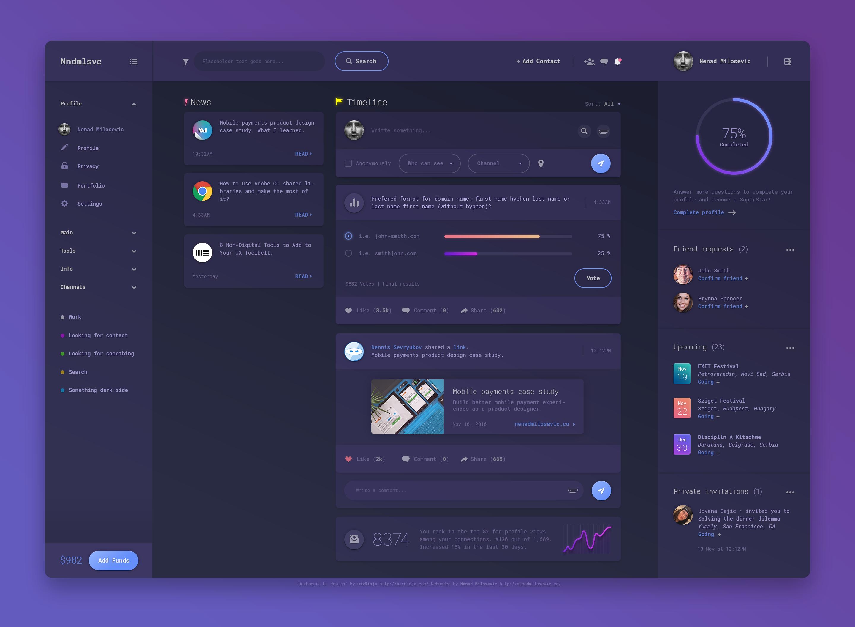紫色的后台Dashboard UI 界面design (PSD)下载