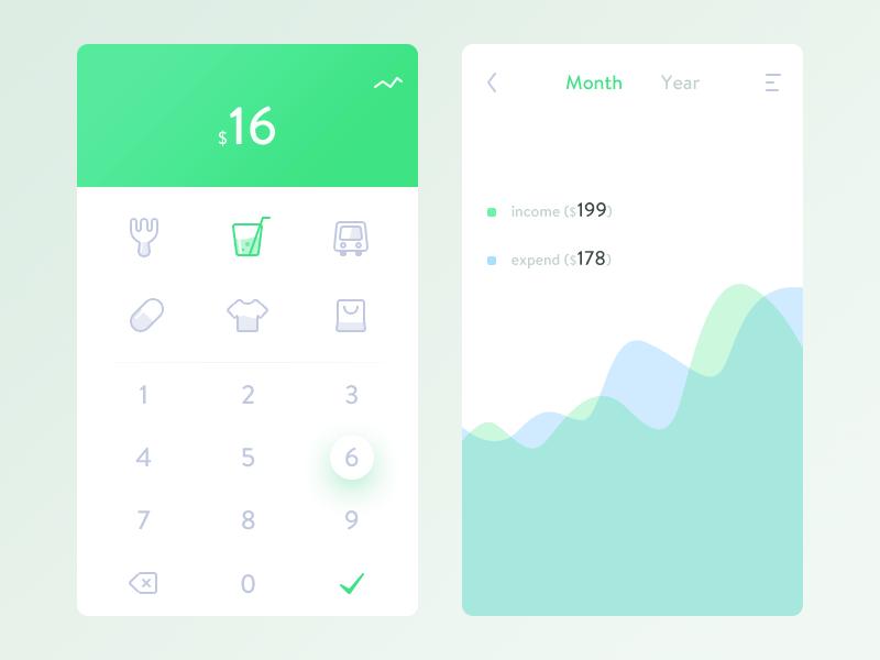 小清新风格的记账app UI界面设计