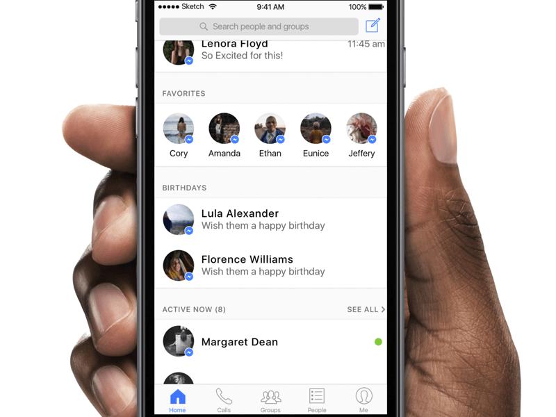 Facebook的Messenger应用主页UI界面设计