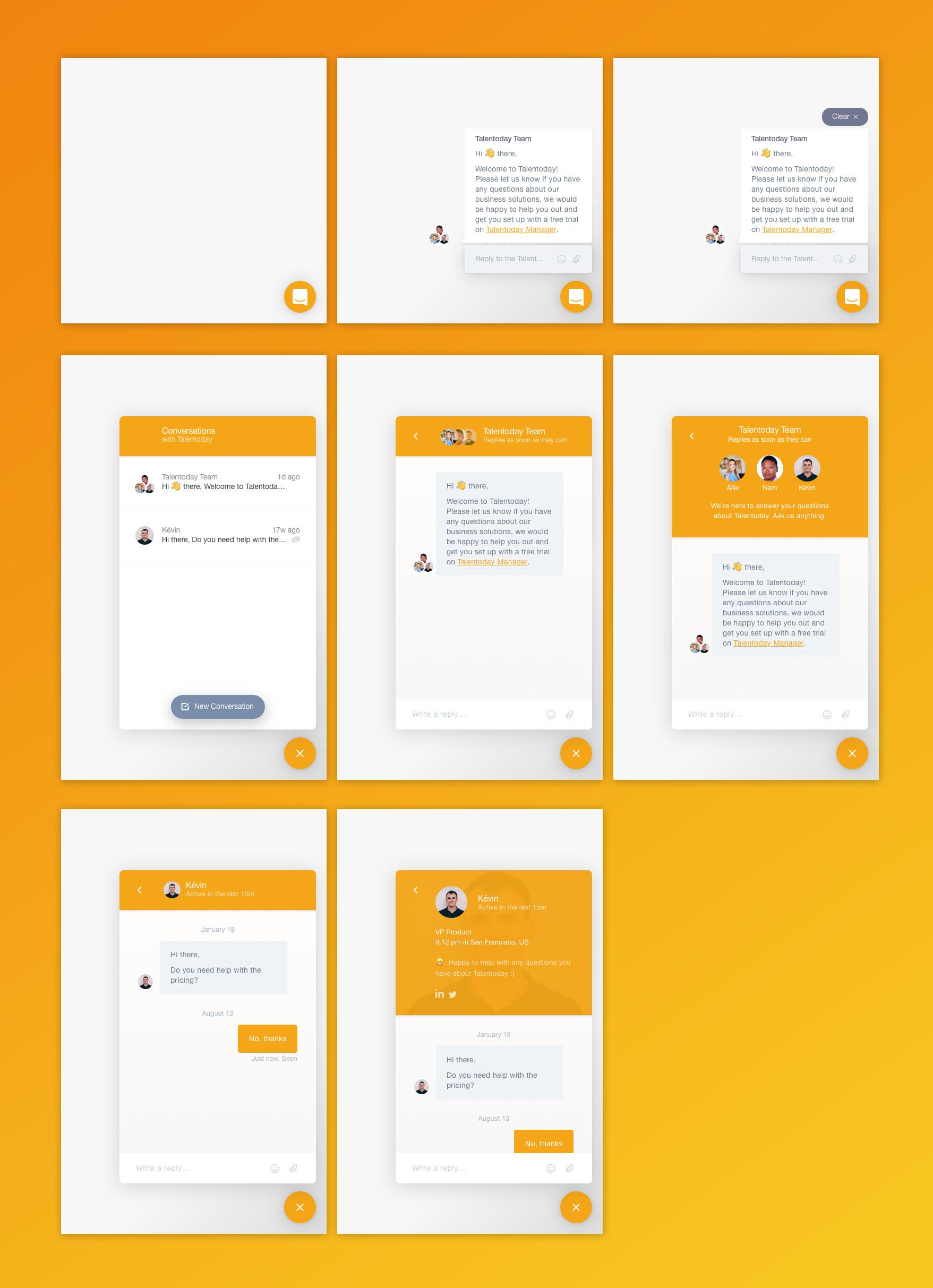 即时对讲聊天 Messenger UI界面设计 Sketch素材下载