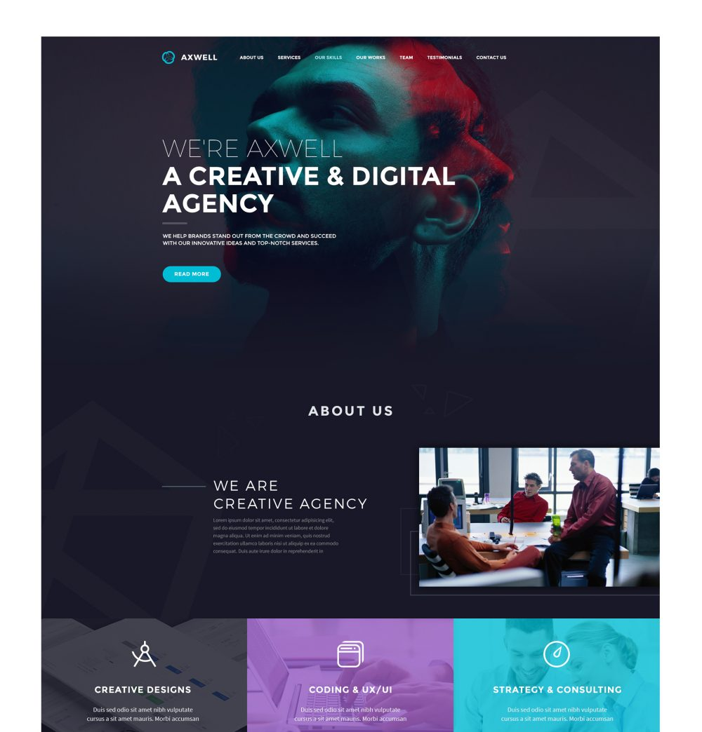Axwell 数字互动工作室网站模板 psd素材下载 网页模板-第1张