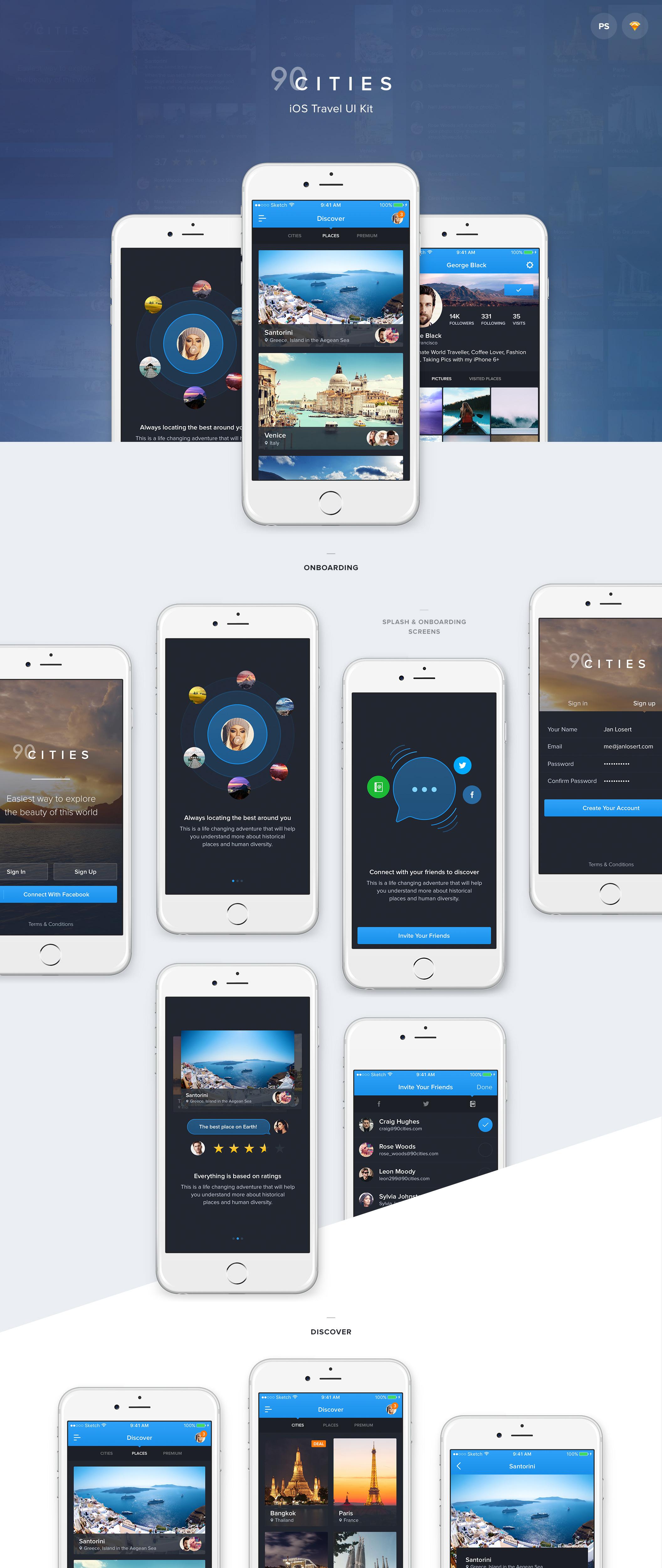 超级完整好看旅游类90Cities iOS APP UI界面设计 psd与sketch两种格式(会员专享) 主题包-第2张
