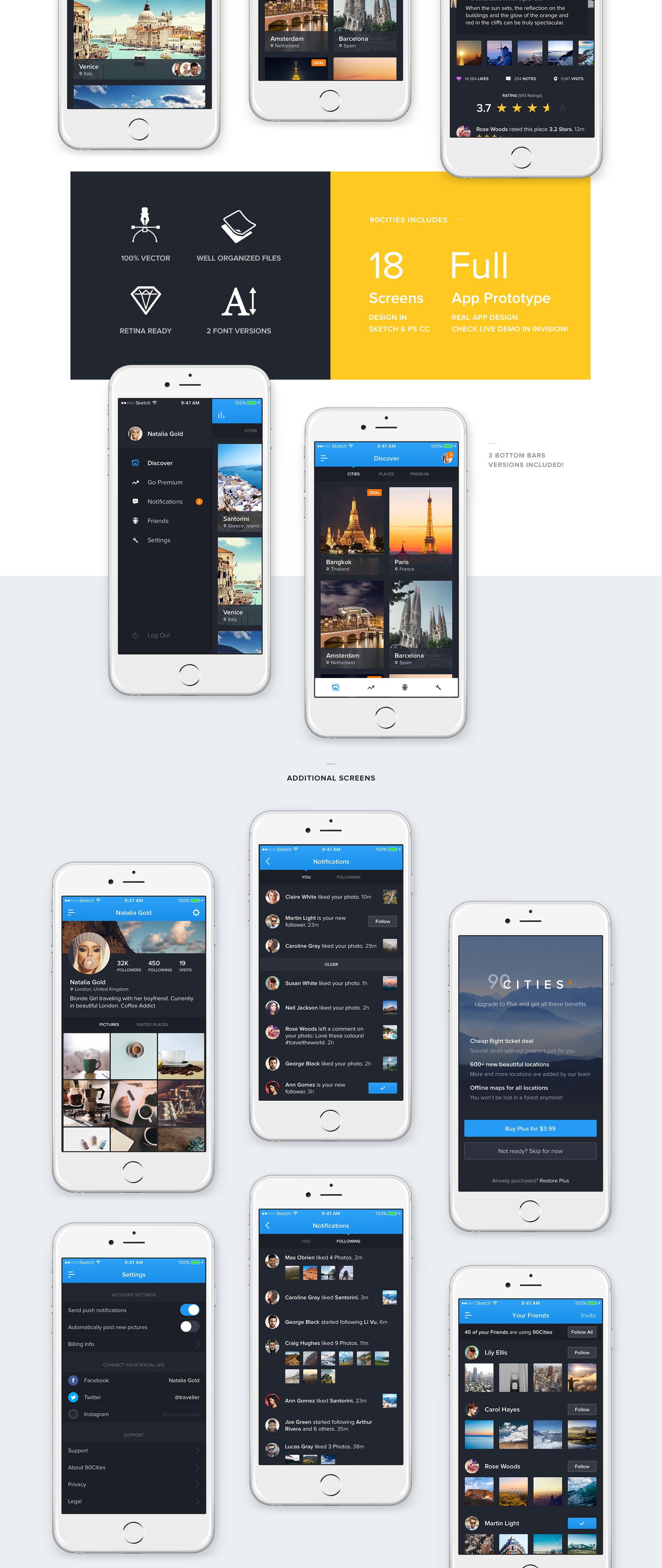 超级完整好看旅游类90Cities iOS APP UI界面设计 psd与sketch两种格式(会员专享) 主题包-第3张