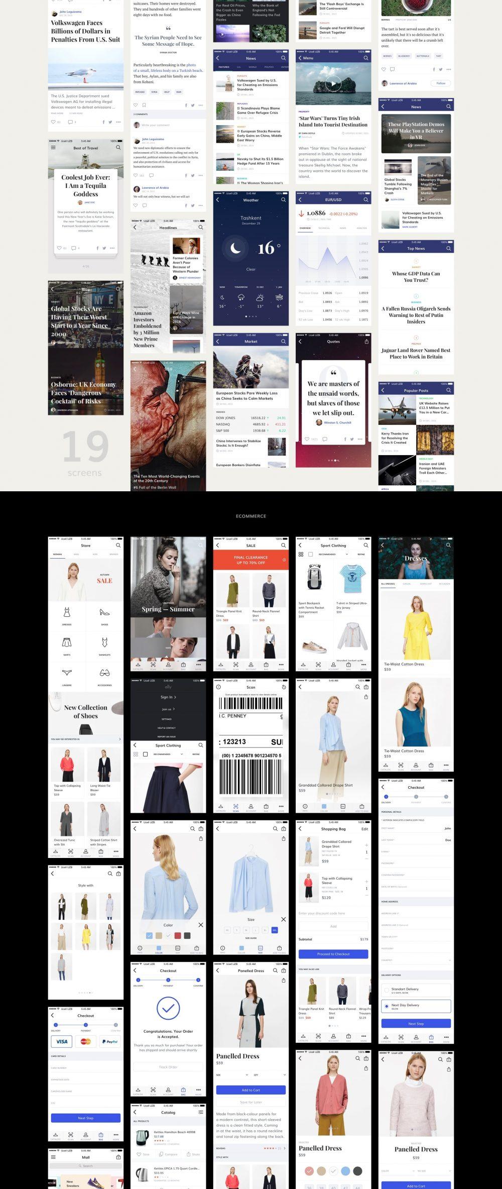 时尚的150多个移动UI界面设计套件psd素材下载 主题包-第3张