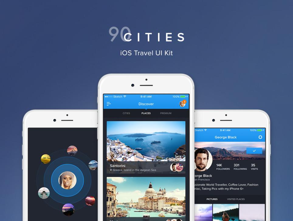 超级完整好看旅游类90Cities iOS APP UI界面设计 psd与sketch两种格式(会员专享) 主题包-第1张