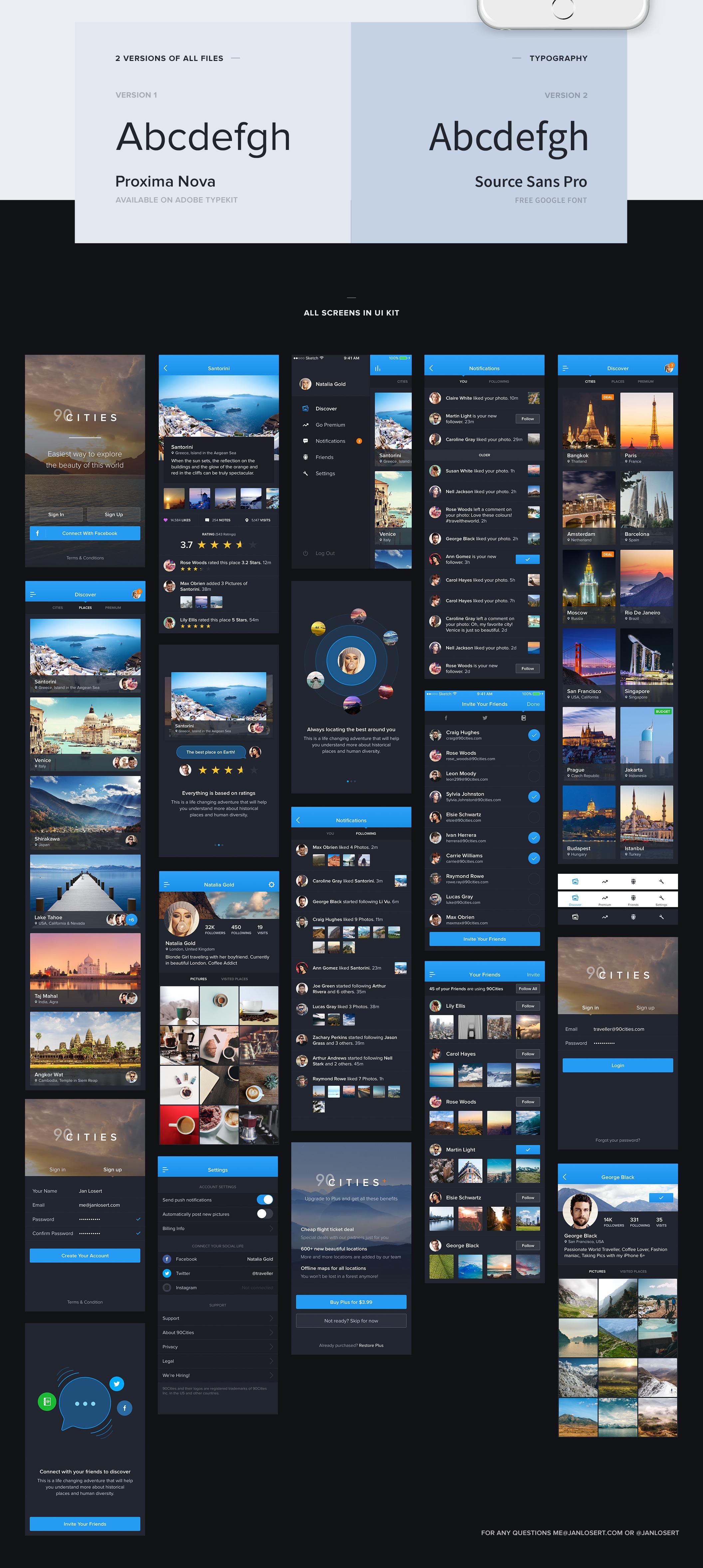 超级完整好看旅游类90Cities iOS APP UI界面设计 psd与sketch两种格式(会员专享) 主题包-第4张