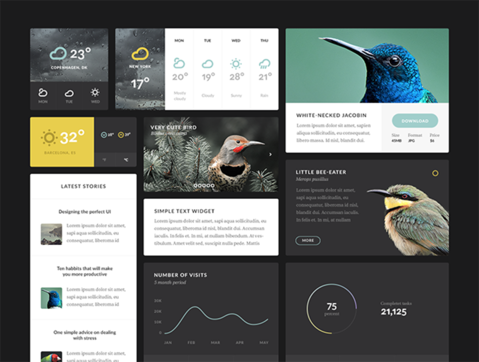 Aves 时尚类APP UI Kit 主题包 sketch 素材下载