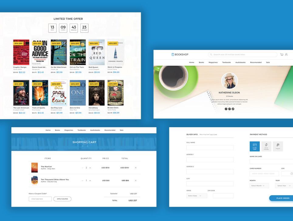 Bookshop电商购物书城网站模板设计 PSD素材下载