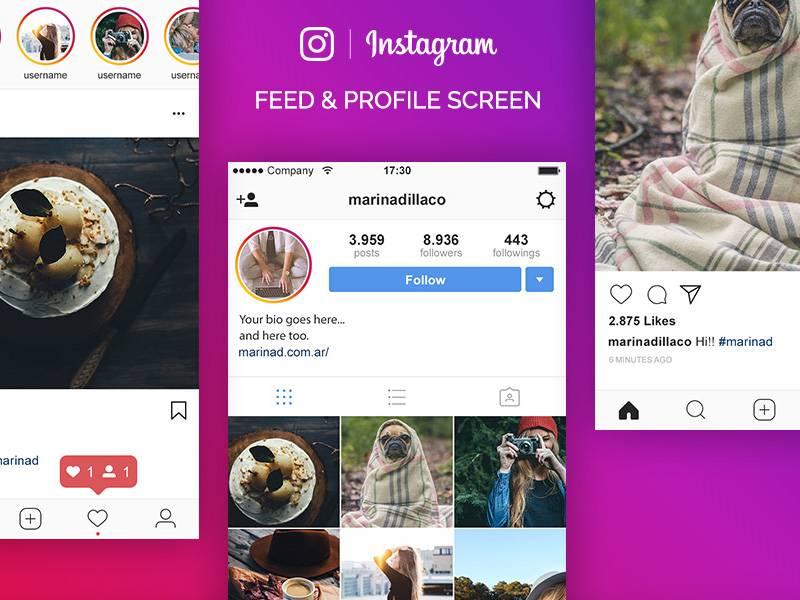 Instagram UI界面设计 PSD素材下载 界面-第1张