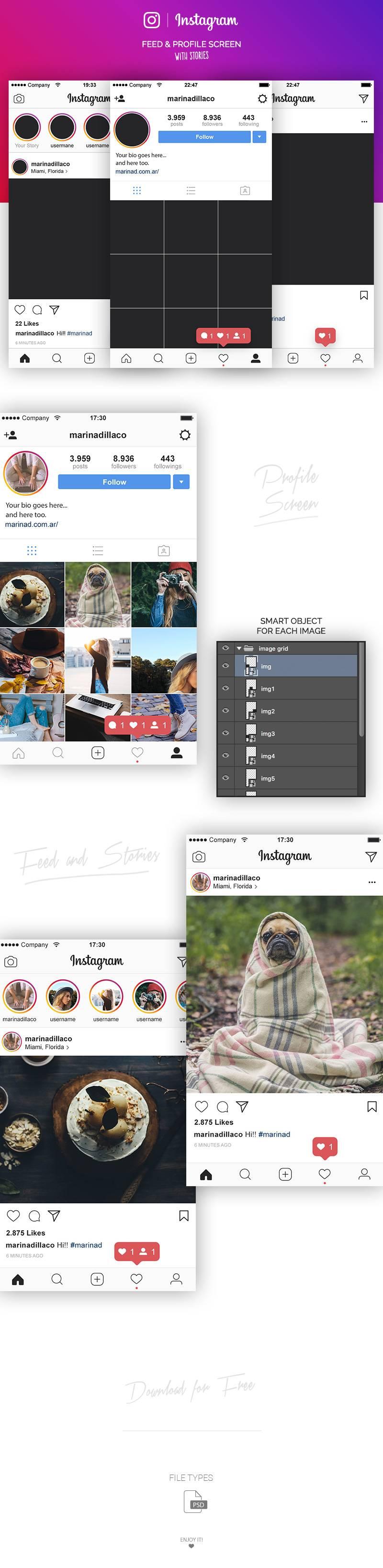 Instagram UI界面设计 PSD素材下载 界面-第2张