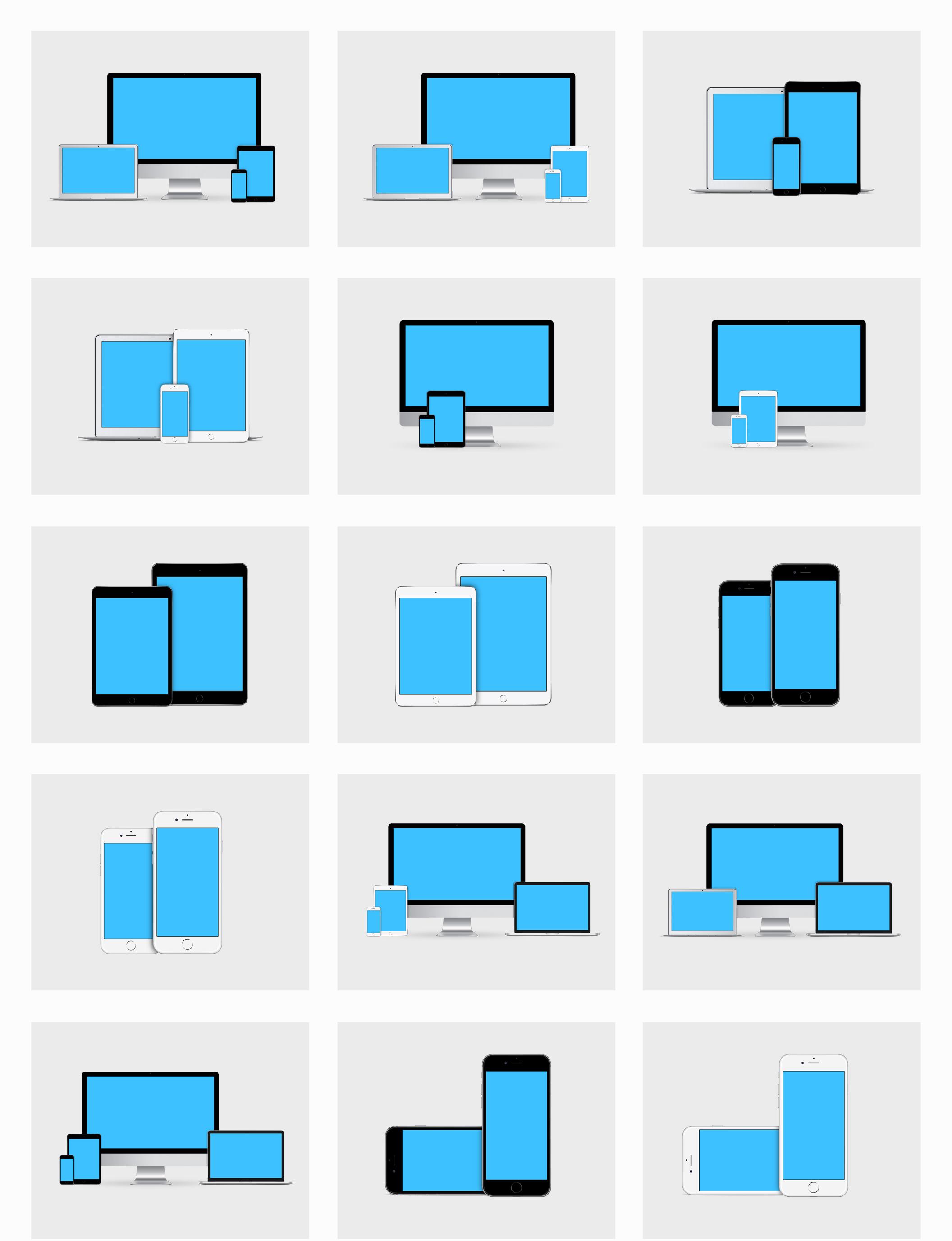 一组多个apple设备设计展示适配的样机素材  psd素材下载 样机素材-第3张