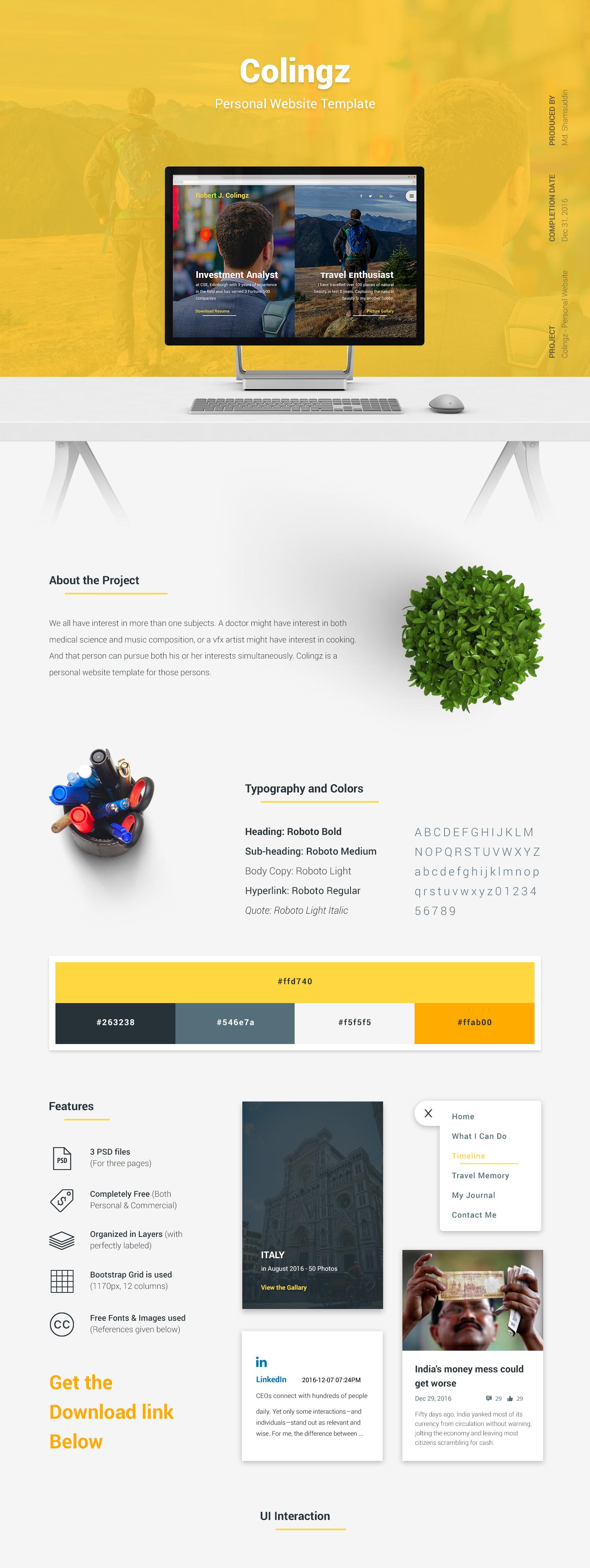 Colingz-好看的个人网站模板 psd素材下载 网页模板-第1张
