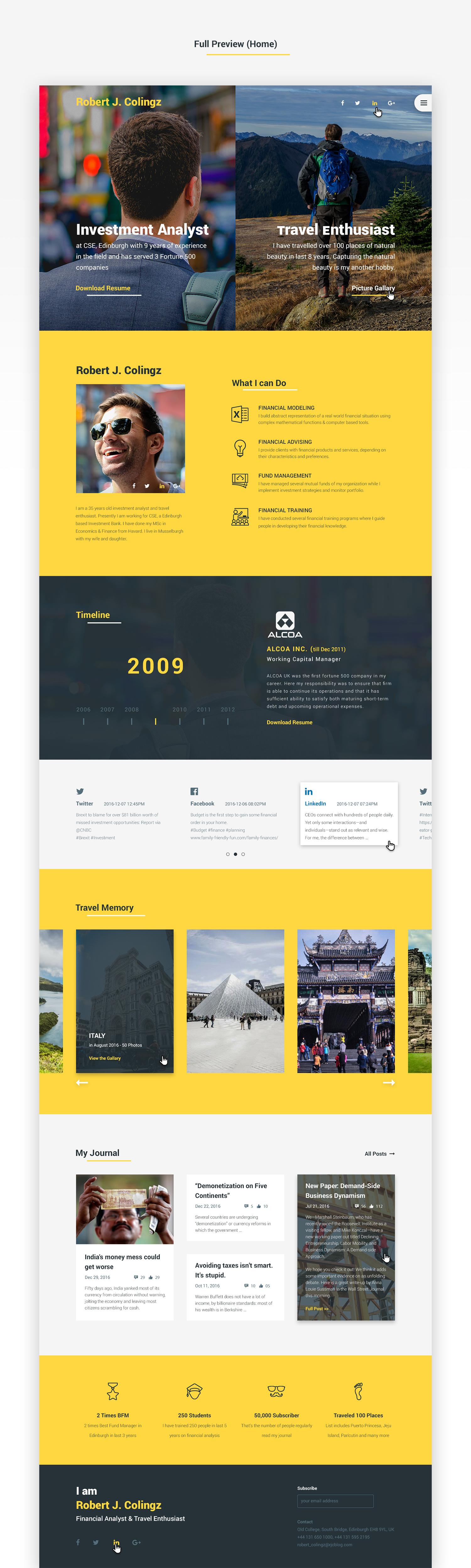 Colingz-好看的个人网站模板 psd素材下载 网页模板-第3张