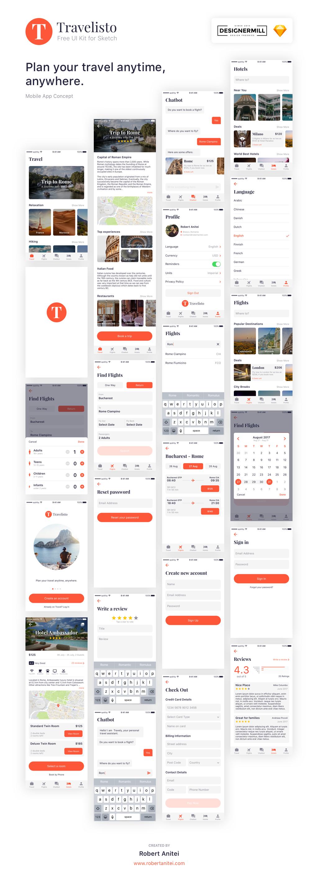 旅行类app Travelisto UI界面设计  sketch素材下载 界面-第1张