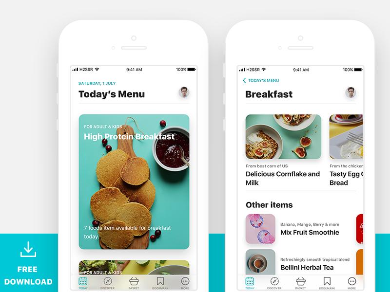 Food Light app UI界面设计  psd素材下载 界面-第1张