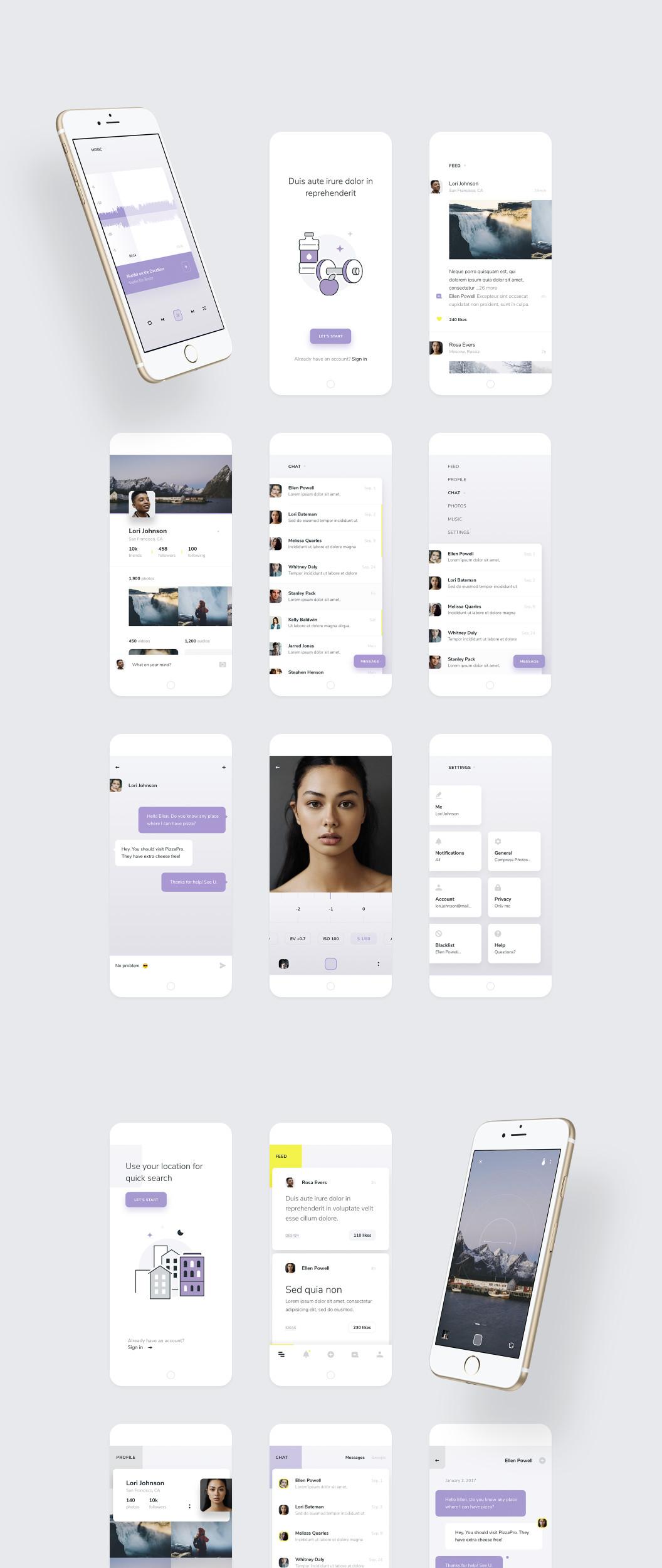 一个时尚和现代的iOSUI主题包 XD素材下载 界面-第1张