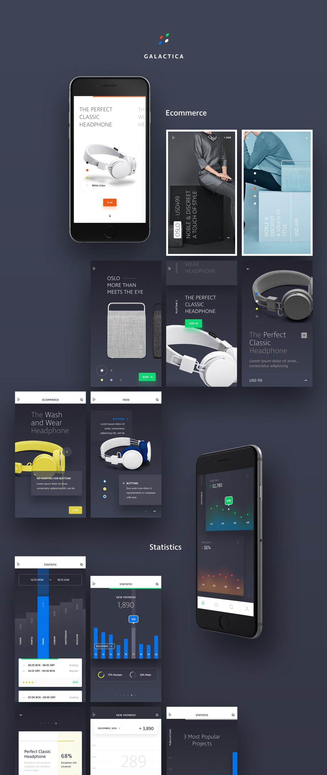 Galactica 电子商务 iOS XD UI KIT  XD素材下载 界面-第1张