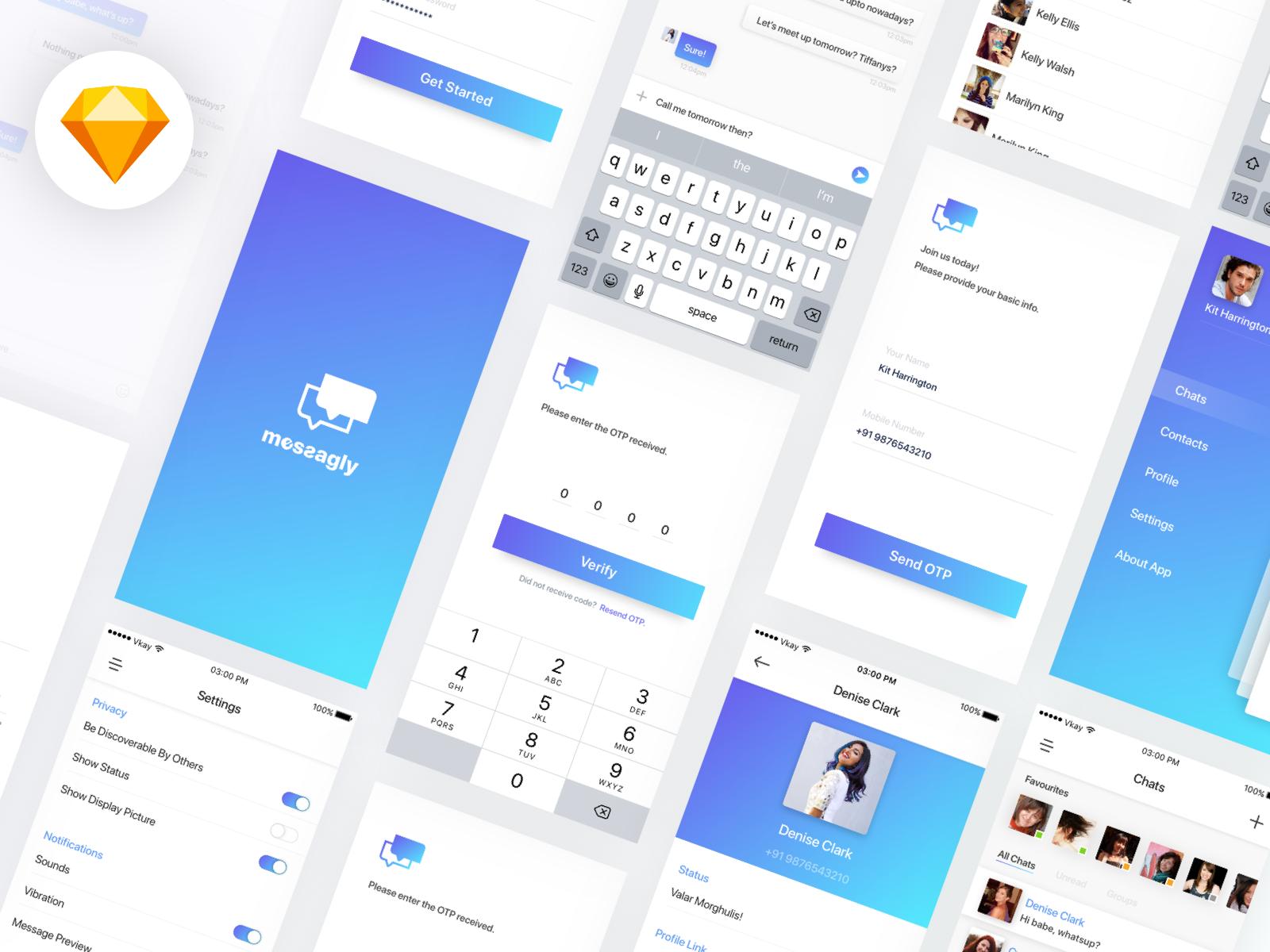 Messagly 聊天类app ui 界面设计sketch素材下载 界面-第1张