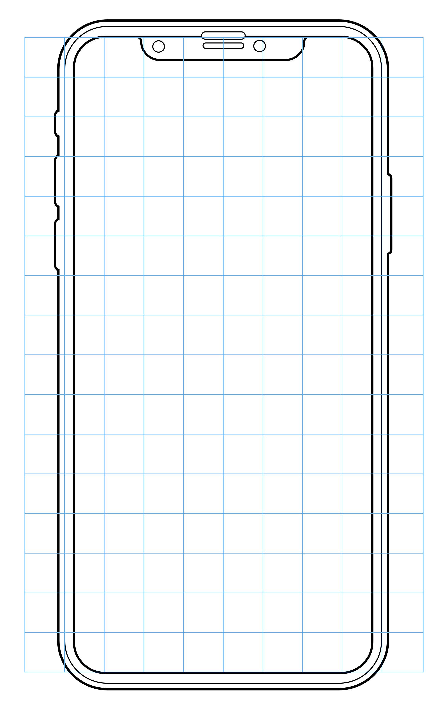iPhone X 线框模板 sketch素材下载 样机素材-第1张