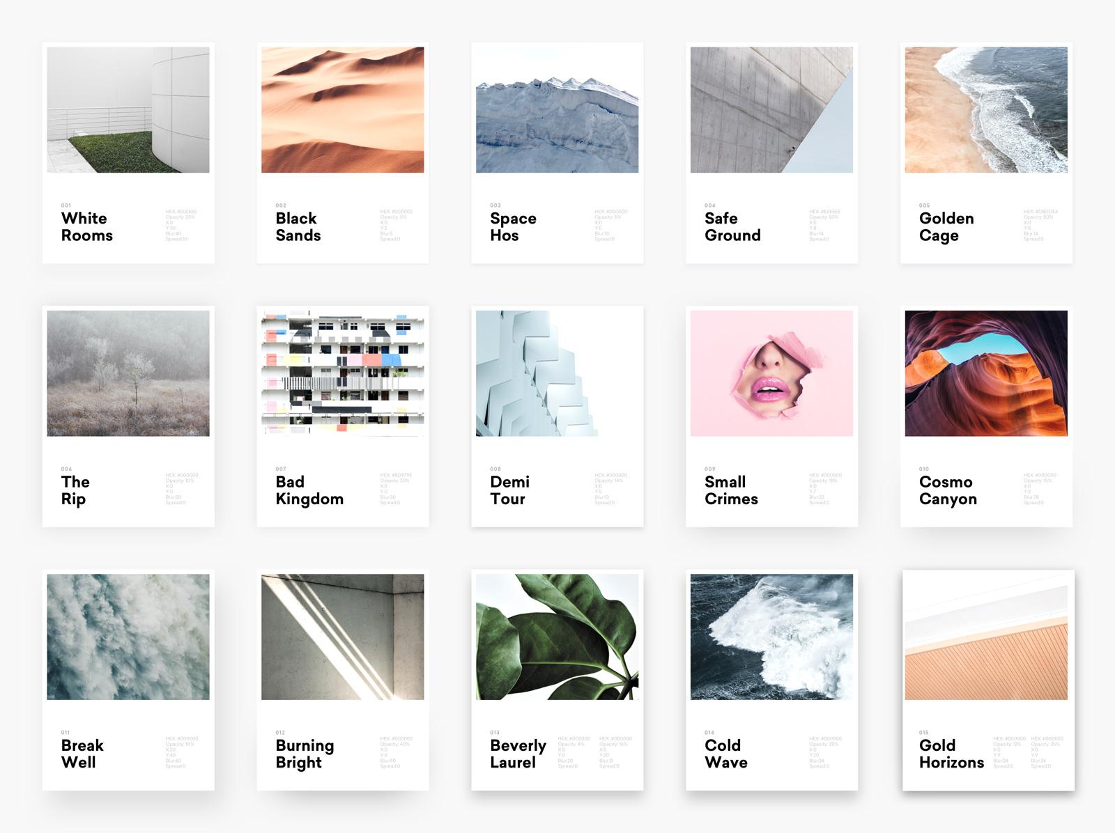 15种不同的投影样式 sketch素材下载 界面-第1张