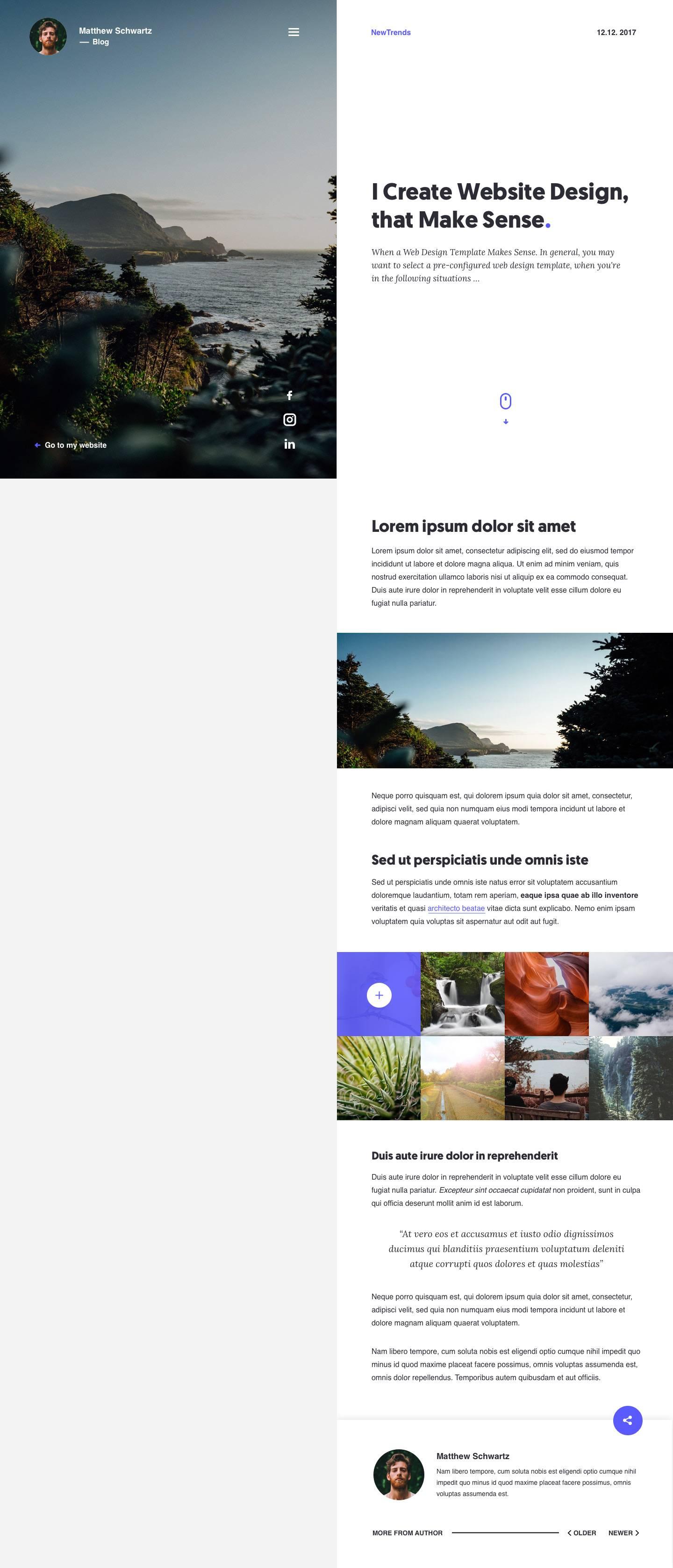 好看分屏设计的博客界面模板 sketch素材下载 网页模板-第2张
