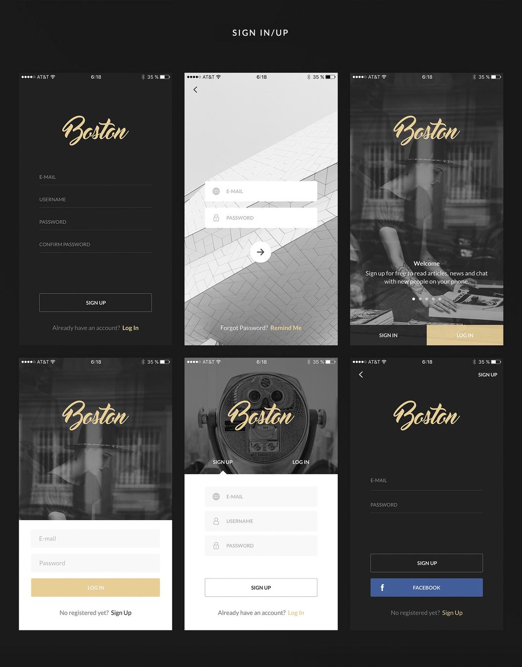 Boston 简洁设计的移动UI主题包 sketch素材下载 主题包-第5张