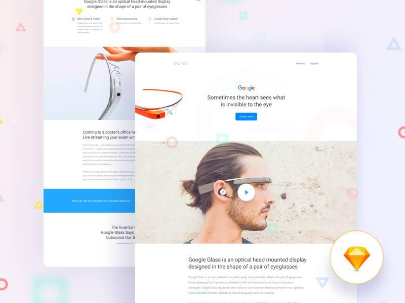 Google Glass落地页网页UI界面设计 sketch素材下载 网页模板-第1张