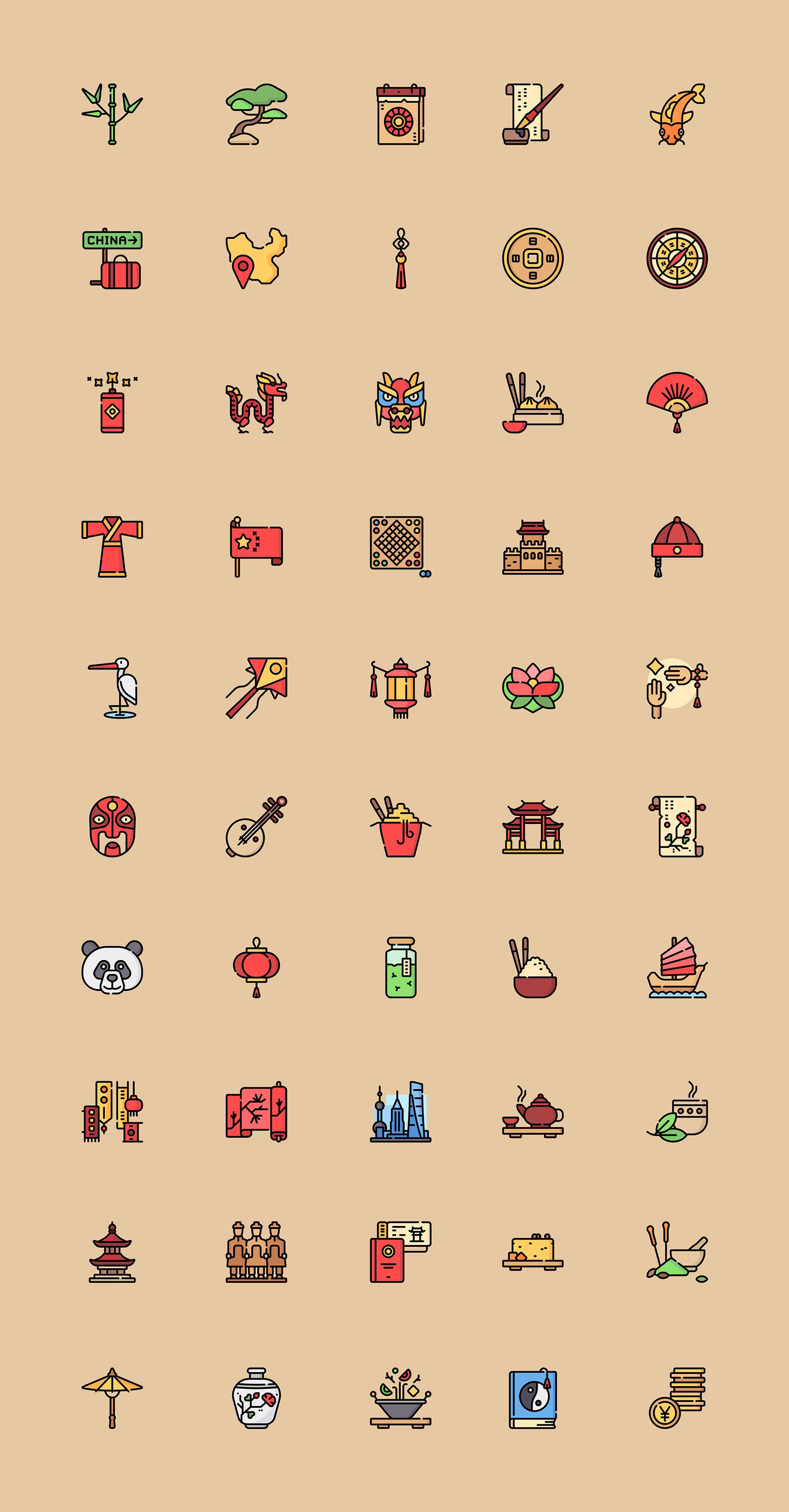 50 枚多彩中国元素图标ICON sketch素材下载 图标-第1张