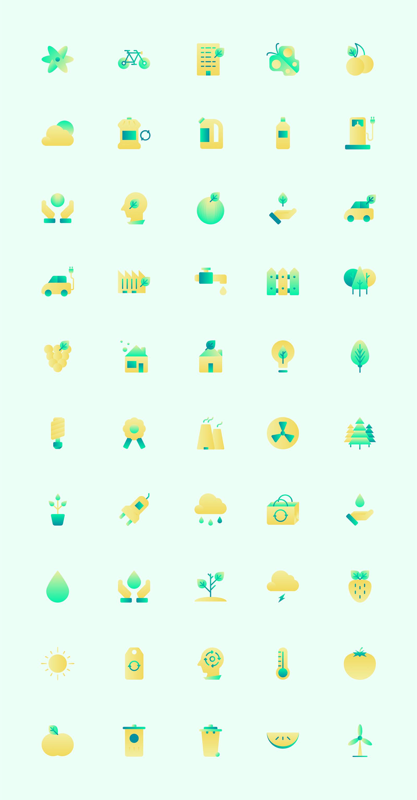 50 个渐变生态环境元素icon图标 sketch素材下载 图标-第1张