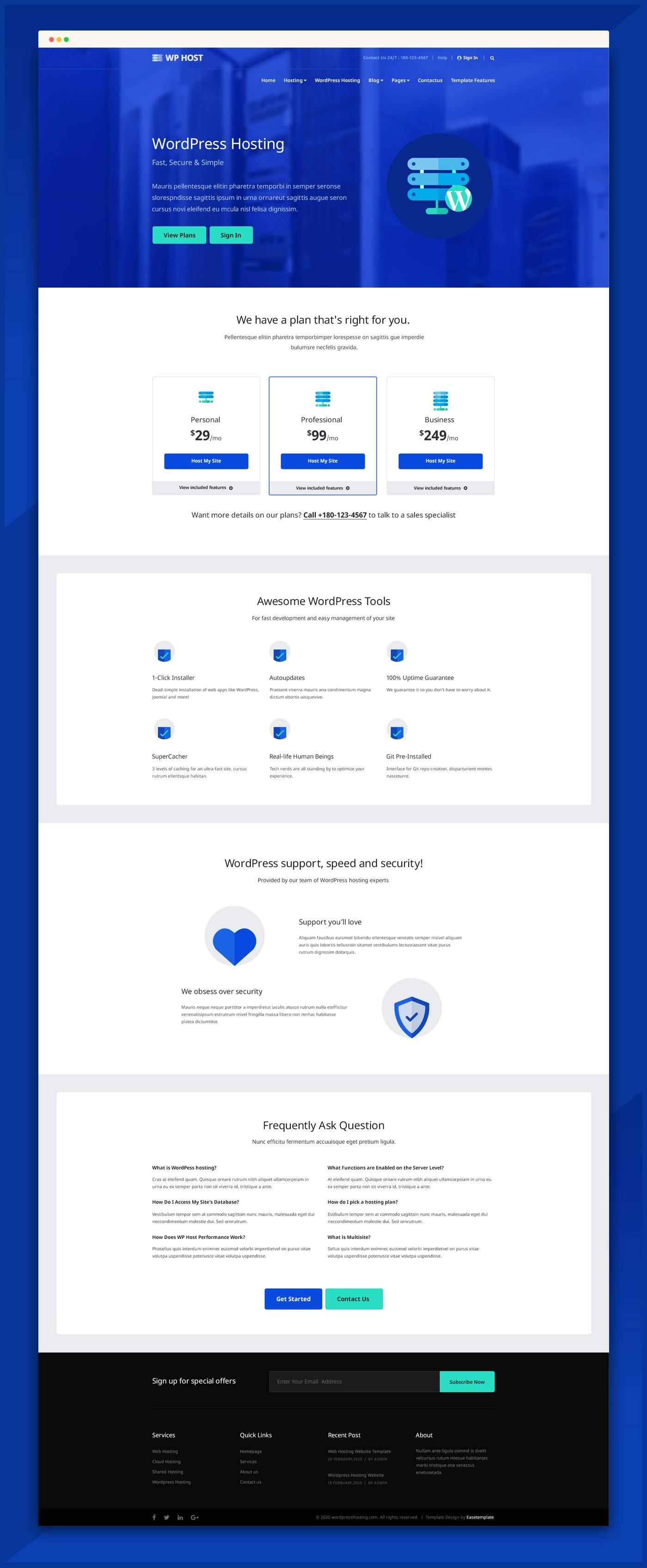 网站托管服务网站模板 psd素材下载 网页模板-第2张