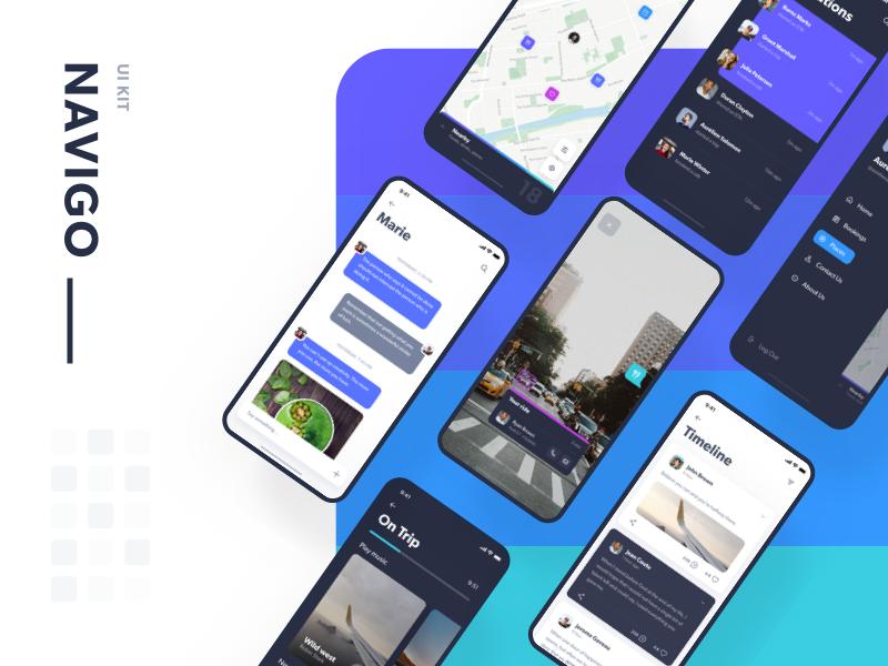 Navigo App UI界面设计  XD素材下载 界面-第1张