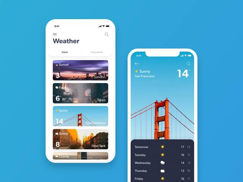 蓝色简洁的天气APP UI界面设计 .sketch素材下载 界面-第1张