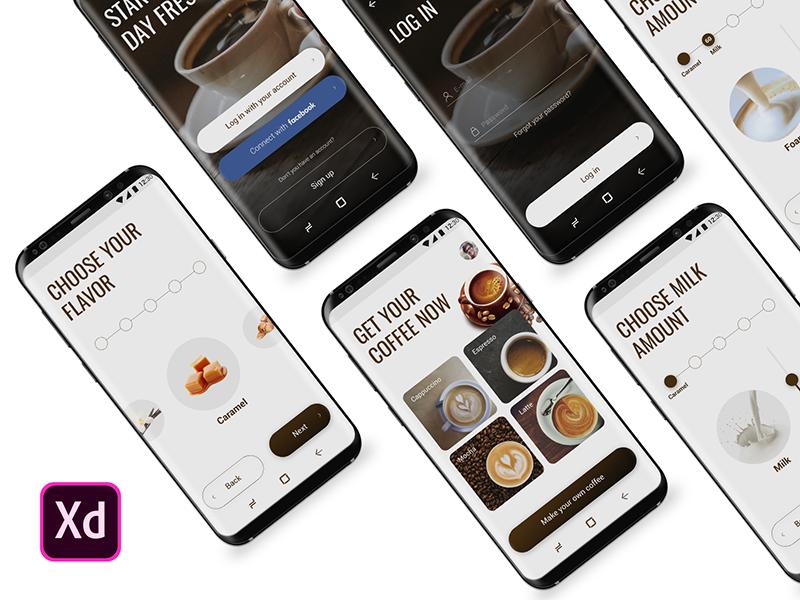 高端的咖啡点单APP UI界面设计 .XD素材下载 界面-第1张