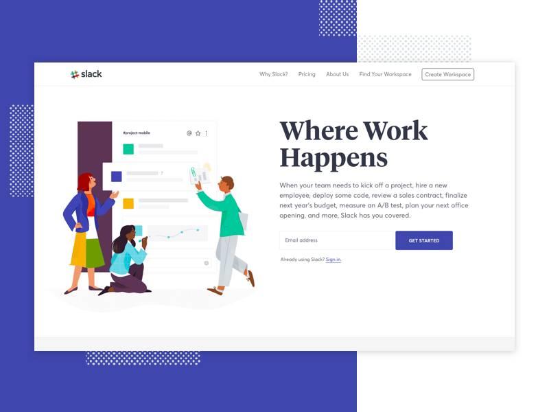 Slack网站首页UI界面设计 .sketch素材下载 网页模板-第1张