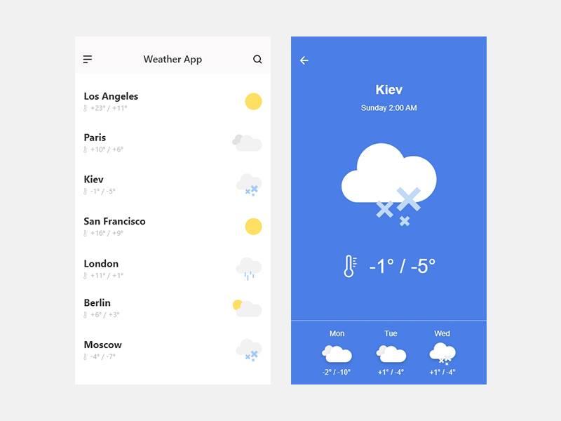 极简风格的天气app ui界面设计 .xd素材下载 界面-第1张