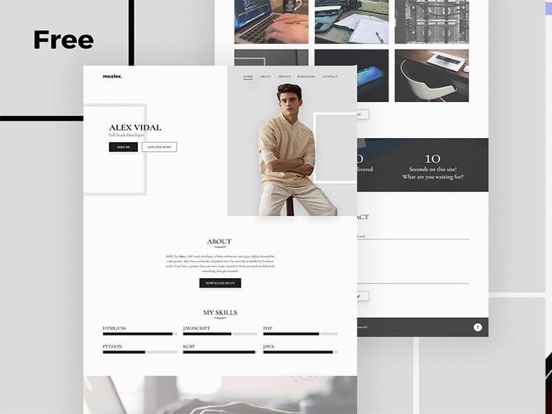 个人主页&电商购物网站界面模板 .psd素材下载 网页模板-第1张
