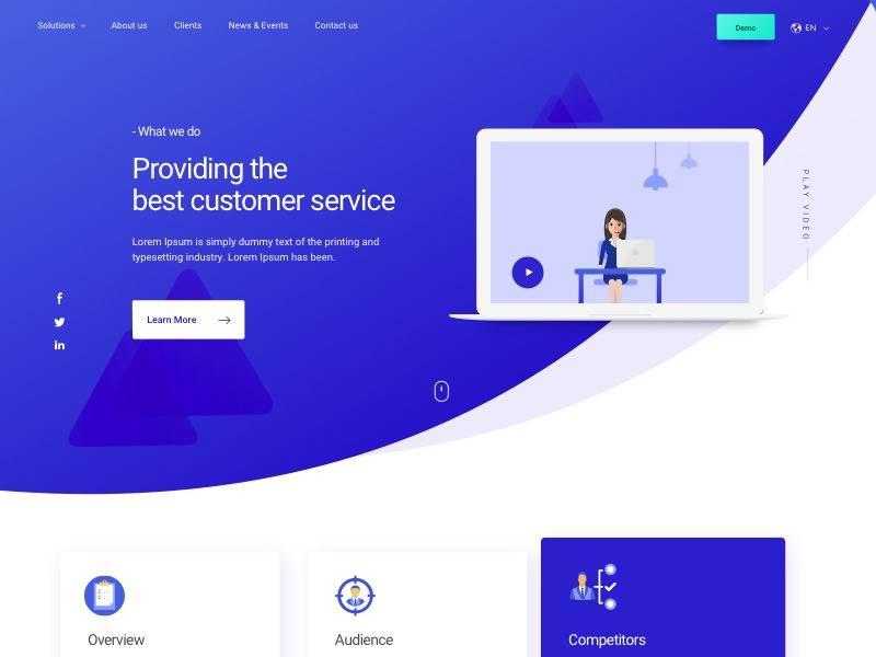 公司用户服务网站模板设计 .sketch素材下载 网页模板-第1张