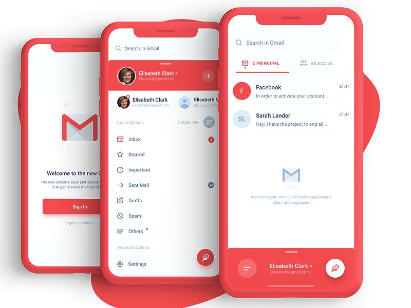 谷歌邮箱Gmail redesign app ui 界面设计.xd素材下载 界面-第1张