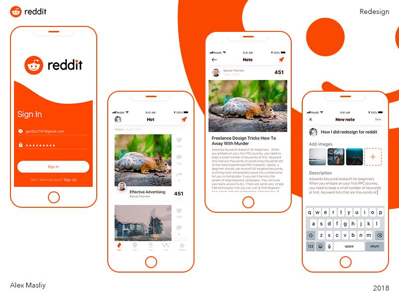 Reddit app ios redesign ui 界面设计.sketch素材下载 界面-第1张
