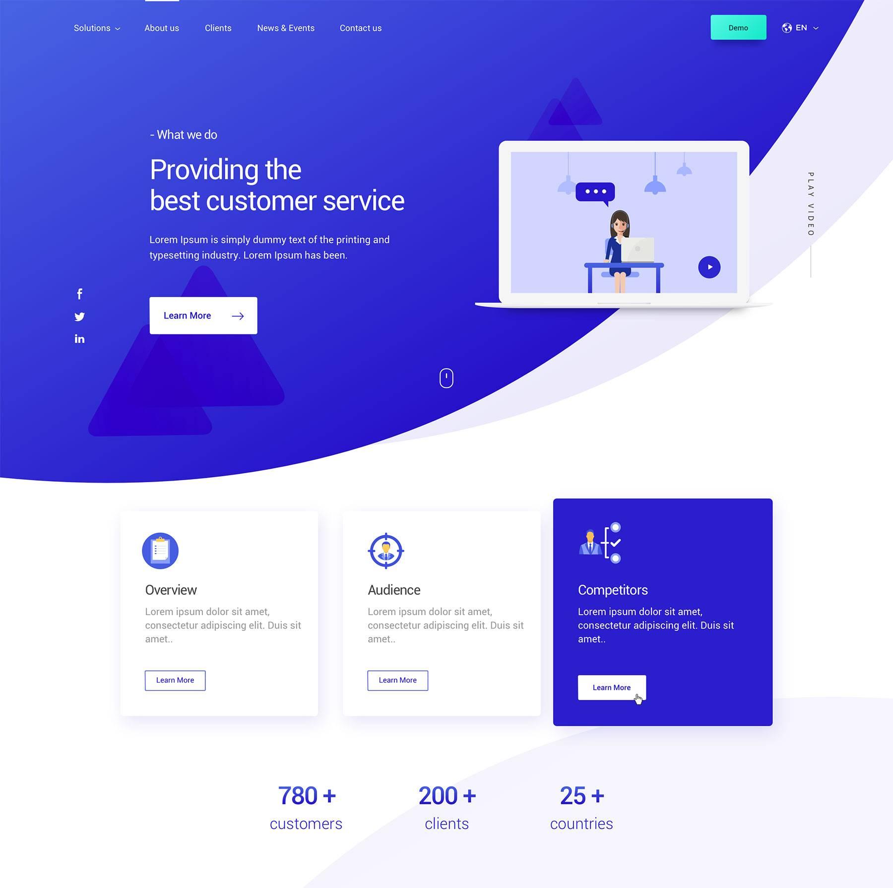 蓝色主题服务页面模板.sketch素材下载 网页模板-第1张