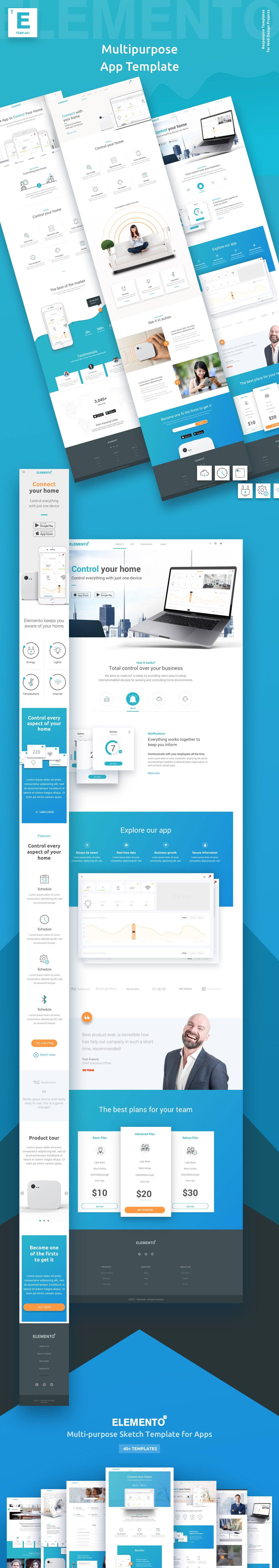 Elemento企业服务网页模板.sketch素材下载 网页模板-第1张