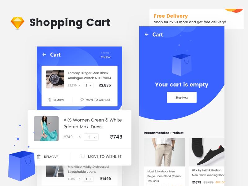 电商购物app 购物车界面.sketch素材下载 界面-第1张