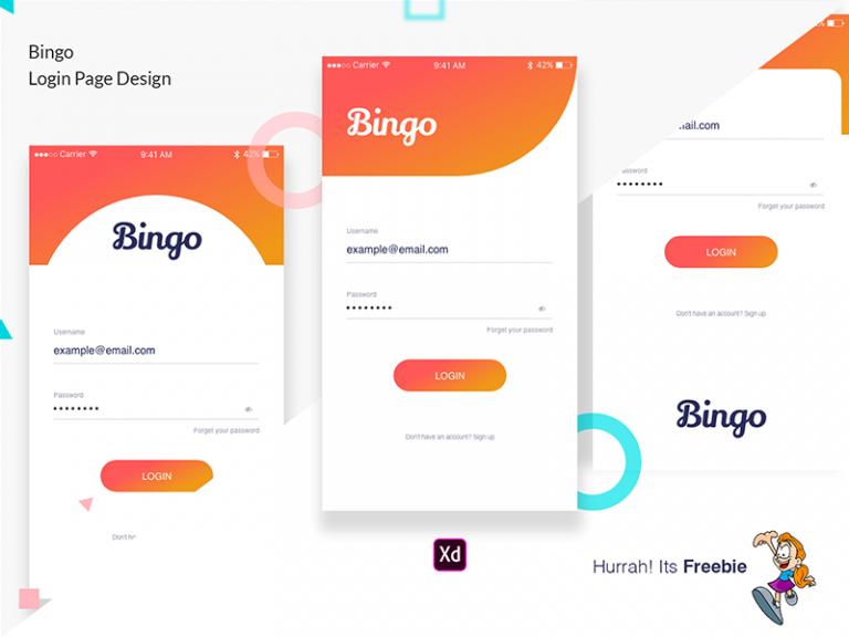 Bingo Login Page登录页面设计 .xd素材下载 界面-第1张