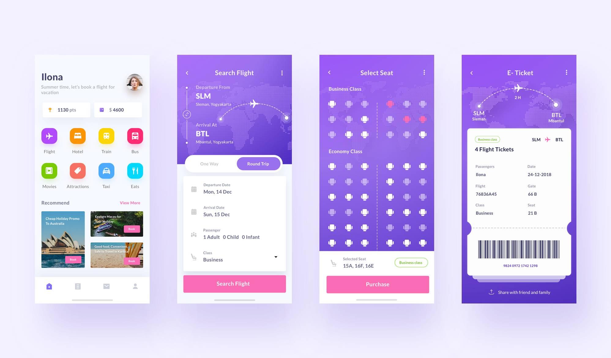 机票预订app ui界面设计 .sketch素材下载 界面-第1张